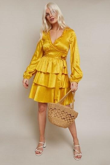 Girls On Film Yellow Alfie Satin Frill Mini Dress