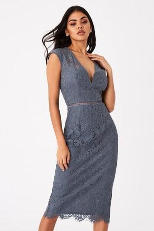 Girls On Film Grey Caro Lace Plunge Midi Dress