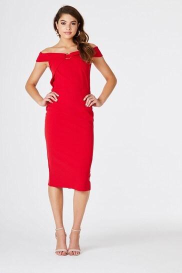 Little Mistress Red Cosmo Bardot Midi Dress