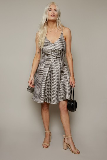 Girls On Film Silver Metallic Spot Jacquard Fit And Flare Dress