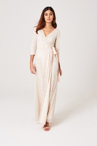 Little Mistress Nude Cecily Nude Embellished Wrap Dress