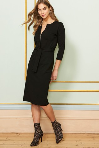 Sosandar Black Zip Neck Detail Belted Ponte Dress