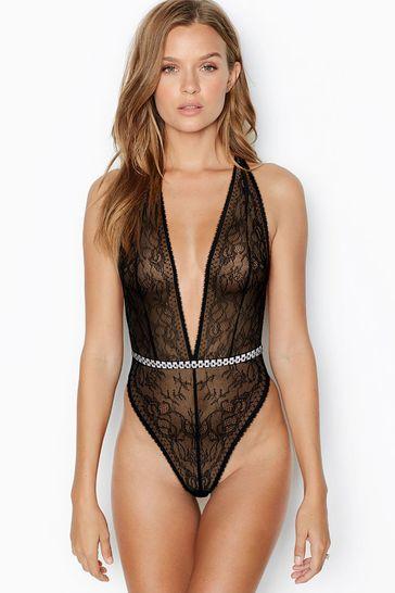 Victoria's Secret Very Sexy Unlined Lace Rhinestone Plunge Teddy