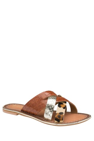 Ravel Brown Leather Mule Sandals