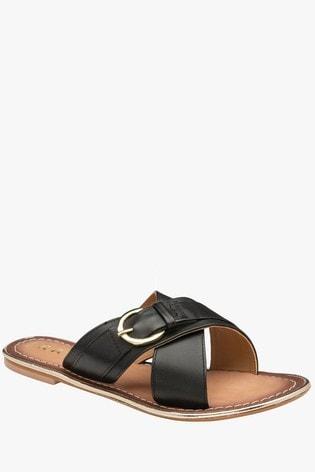 Ravel Black SlipOn Mule Sandals