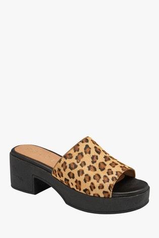 Ravel Leopard Print Mule Sandals