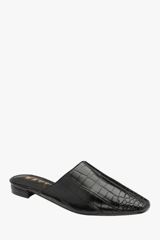 Ravel Black Croc Print Mule Sandals