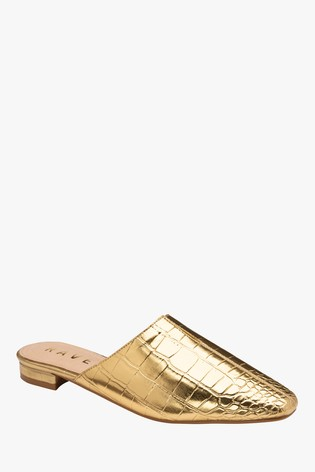 Ravel Gold Croc Print Mule Sandals