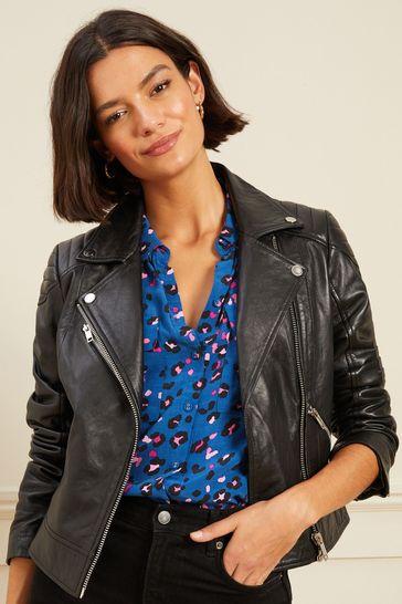 Love & Roses Black Leather Biker Jacket