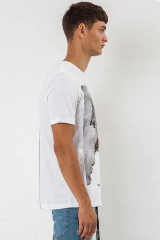 Religion White Burned Skeleton Graphic T-Shirt