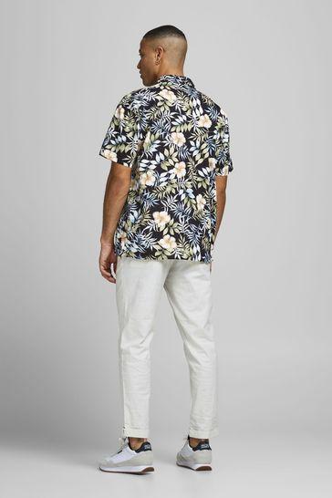 Jack & Jones Black Printed Short Sleeve Revere Shirt