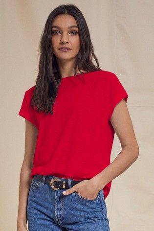 Love & Roses Red Roll Sleeve TShirt