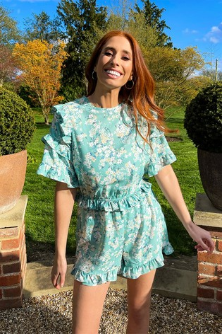 In The Style Sage Stacey Solomon Ditsy Floral Ruffle Playsuit