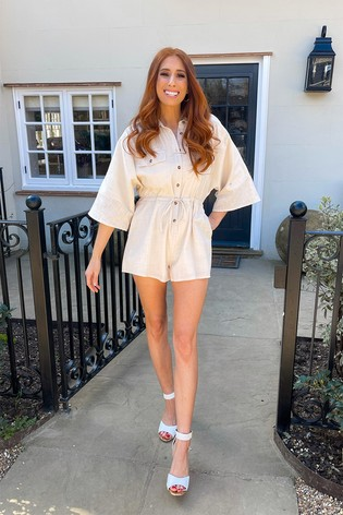 In The Style Stone Stacey Solomon Flare Sleeve Playsuit