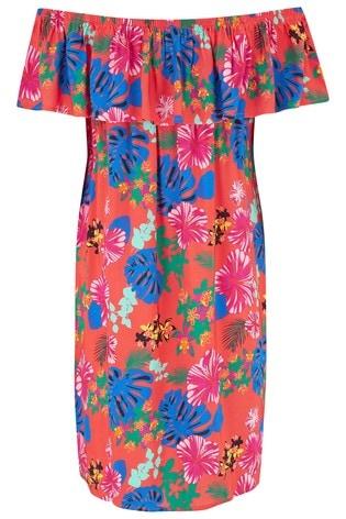 Pour Moi Red Floral Woven Bardot Beach Dress