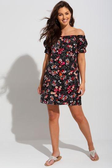 Pour Moi Black Floral Textured Woven Bardot Puff Sleeve Beach Dress