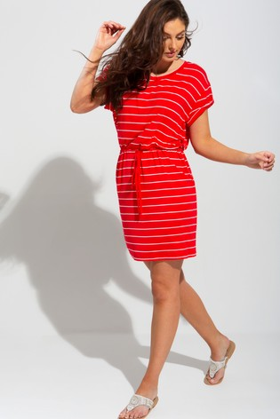 Pour Moi RedWhite Jersey T-Shirt Beach Dress
