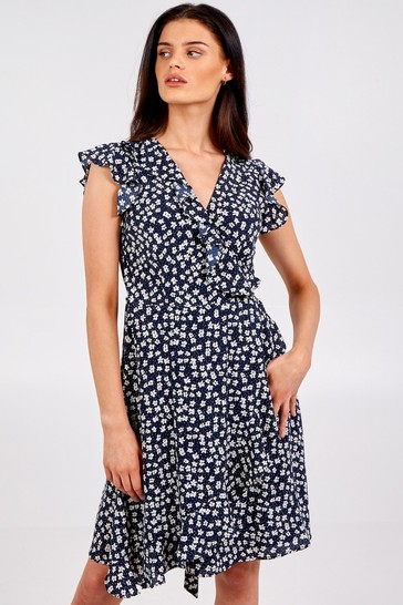 Blue Vanilla Navy Sleeveless Wrap Frill Front Dress