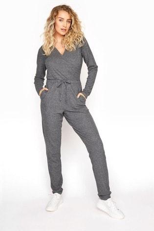 Long Tall Sally Grey Soft Wrap Jumpsuit