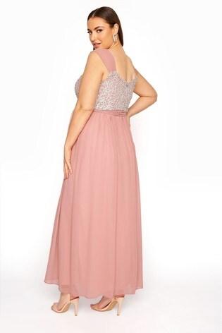 Yours Pink Sleeveless Crochet Overlay Maxi Dress