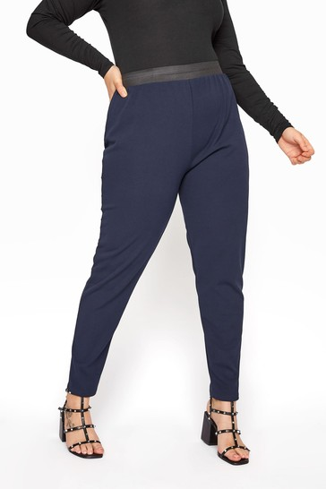 Yours Blue Scuba Crepe Trousers