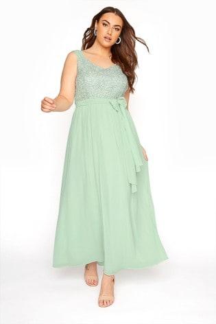Yours Green Sleeveless Crochet Overlay Maxi Dress