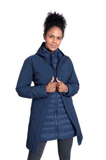 Mountain Warehouse Blue Alaskan Womens 3 In 1 Long Jacket