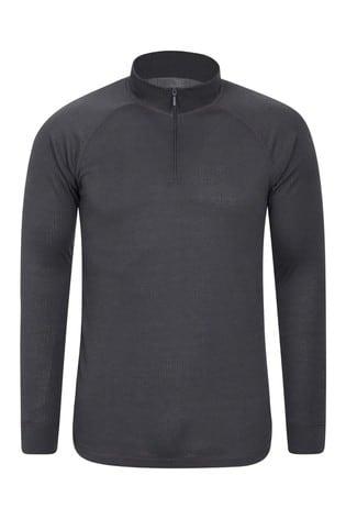 Mountain Warehouse Black/Grey Talus Mens Long Sleeved Zip Neck Top
