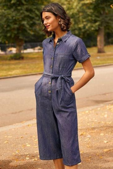 Yumi Blue Yumi Cotton Denim Jumpsuit