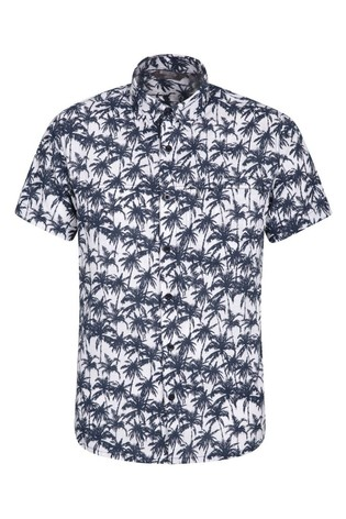 Mountain Warehouse Indigo Tropical Printed Mens Short Sleeved Shirt