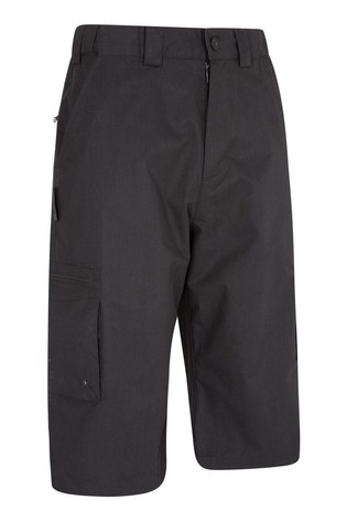 Mountain Warehouse Black Trek II Mens Walking Long Shorts