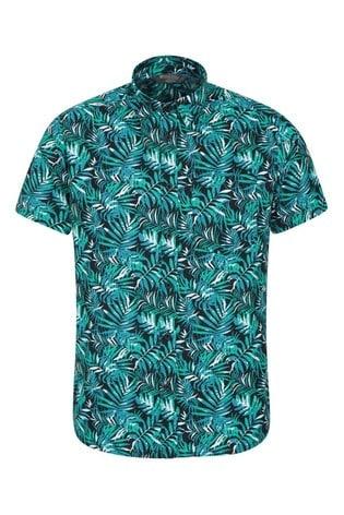 Mountain Warehouse Blue Tropical Printed Mens Short Sleeved Shirt