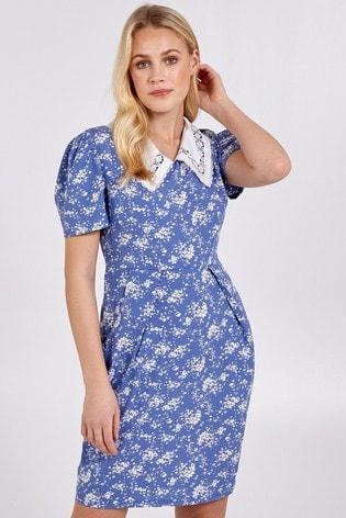 Blue Vanilla Blue Collared Short Slv Tulip Dress