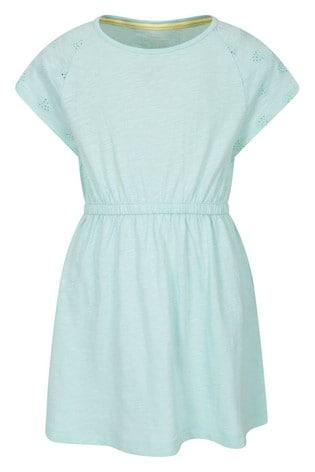 Mountain Warehouse Green Meadow Broderie 100% Organic Cotton Kids Dress