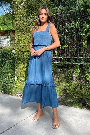 Lipsy Lightweight Denim Regular Shirred Strappy Midi Dress