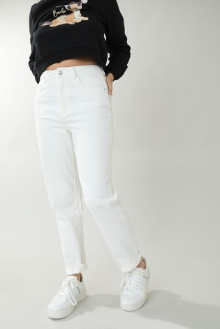 Pimkie White Straight High Waist Raw Cut Jean