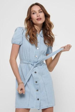 Only Blue Puff Sleeve Belted Denim Dress