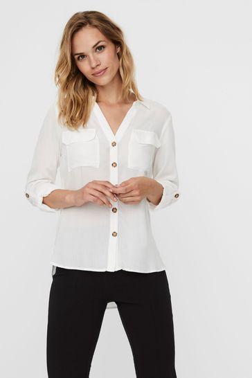 Vero Moda White Utility 3/4 Sleeve Shirt