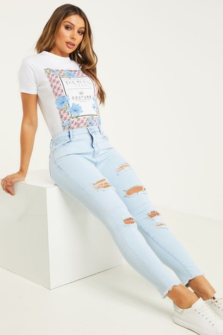 Quiz Blue Ripped Skinny Jeans