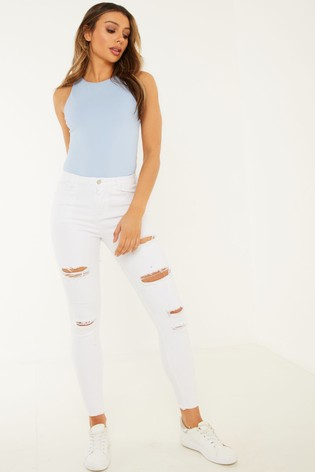 Quiz White Ripped Skinny Jeans