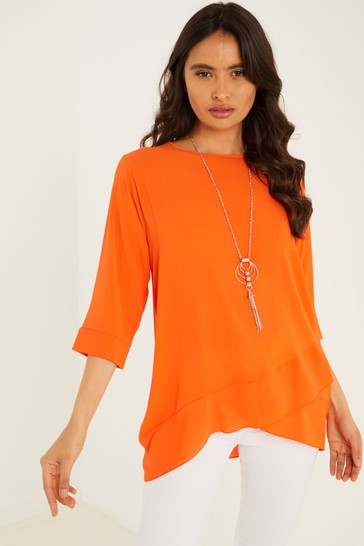 Quiz Orange Cross Hem Necklace Top