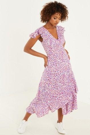 Quiz Purple Animal Print Midi Dress
