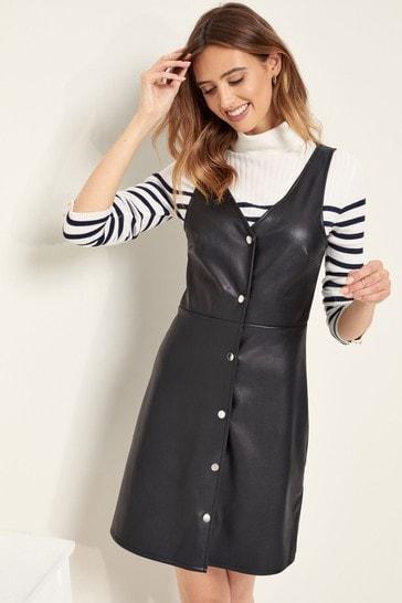 Lipsy Black PU Pinafore Dress