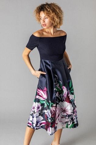 Roman Navy Bardot Floral Fit & Flare Dress