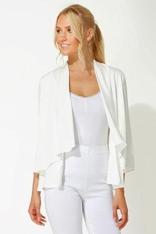 Roman Ivory Chiffon Waterfall Front Jacket