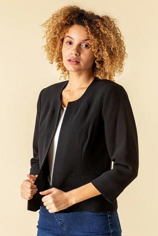 Roman Black Textured Cropped Jacket