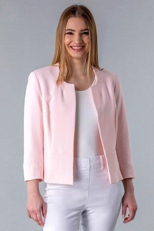 Roman Pink Textured Cropped Jacket