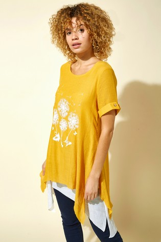 Roman Yellow Dandelion Floral Hanky Hem Tunic Top