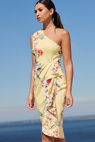 Lipsy Yellow Floral One Shoulder Bodycon Dress