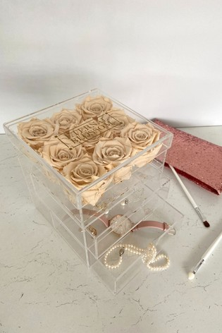 Personalised Year Lasting Real Roses 9 Piece Makeup Box by Eternal Blossom
